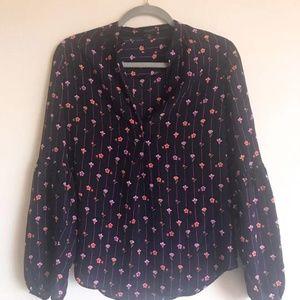 Ann Taylor Floral Silk Blouse Size XXS